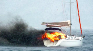 Sarasota County sailboat sinks after fire takes over